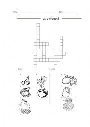 English Worksheet: crossword fruits