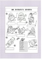 English Worksheet: Mr Potato�s sports