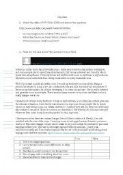 English Worksheet: Description of place: My house, my bedroom. There is/are; It has