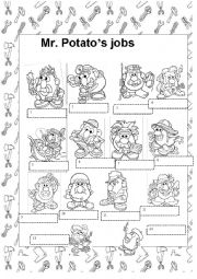 English Worksheet: Mr potato�s jobs