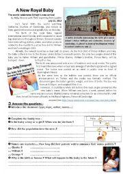 English Worksheet: Royal Baby !
