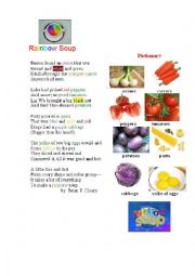 English Worksheet: RAINBOW SOUP (a poem + a pictionary + a task)