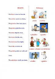English Worksheet: TRADES (a poem + a pictionary)