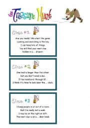 English Worksheet: The treasure hunt