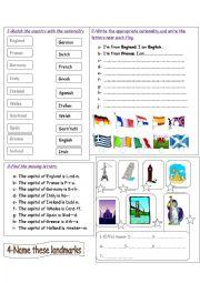 English Worksheet: countries, nationalities and landmarks.
