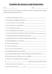 English Worksheet: Complete the sentences using conjunctions