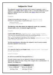 English Worksheet: Subjunctive Mood