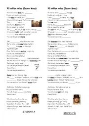 English Worksheet: 93 million miles Jason Mraz