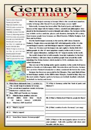 English Worksheet: Germany Reading Comprehension Practice Exercises with Definitions