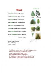 English Worksheet: TREES (a poem + a pictionary + questions)