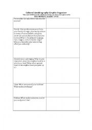 English Worksheet: Cultural Autobiography Graphic Organizer
