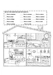 Parts of the house and forniture - ESL worksheet by clayaloma
