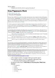 English Worksheet: How Paparazzi Work