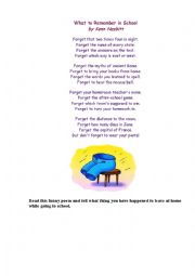 English Worksheet: What to Remember at School ( a funny poem)