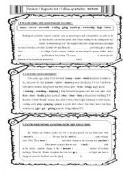 English Worksheet: Follow-up activities / Diagnostic test / Revision 3rd Form ( Secondary)