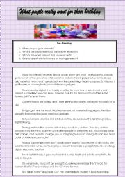 English Worksheet: What people really want for their birthday- READING COMPREHENSION
