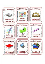 English worksheet: Classroom Objects / Can I Borrow ? / Go Fish 2/2