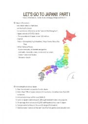 English Worksheet: Let�s Go to Japan (I)--Basic Information, Manga and More!