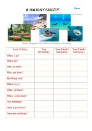 English Worksheet: Last Holiday Survey