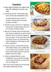 English Worksheet: Cooking American Chili (2 of 3)