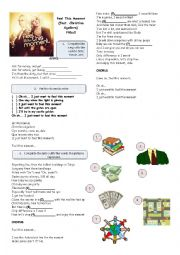 English Worksheet: Feel this moment - Pitbull feat. Christina Aguilera