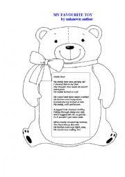 English Worksheet: TEDDY BEAR (a poem)