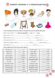 English Worksheet: possessive adjectives & pronouns