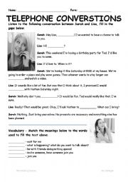 English Worksheet: Telephone Conversations