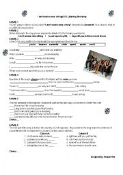 English Worksheet: I don�t wanna miss a thing - Aerosmith