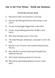 English worksheets: How to Eat Fried Worms - Words and Sentences