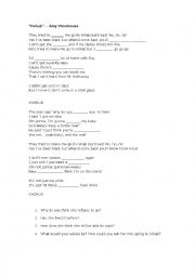 English Worksheet: Song: Rehab, by Amy Winehouse