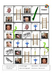 English Worksheet: Body adjectives snakes & ladders game