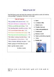 English Worksheet: TV PROGRAMS (a poem + a matching exercise)
