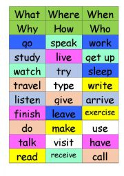 English worksheet: Speaking game to use with all tenses - guide included