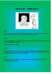 English Worksheet: Role Play- Complaints