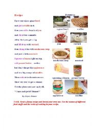 English Worksheet: RECIPE ( a poem + a pictionary)