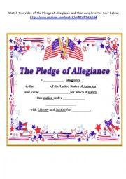 english worksheets pledge of allegiance worksheets. Black Bedroom Furniture Sets. Home Design Ideas