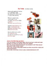 English Worksheet: MY VIOLIN (a funny poem + a pictionary)