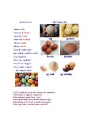 English Worksheet: EGGS (a poem + a pictionary)
