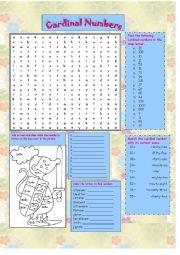 English Worksheet: Cardinal Numbers (Fully Editable)