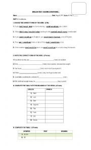 English Worksheet: conditional tests