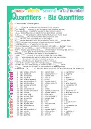 English Worksheet: Quantifiers - Big Quantities