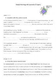 English Worksheet: Global warming movie with Leonardo Di Caprio
