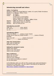 English Worksheet: Introducing Yourself and others