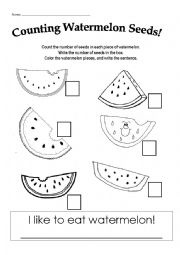 english worksheets counting watermelon seeds. Black Bedroom Furniture Sets. Home Design Ideas