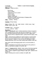 English Worksheet: Module 4:Lesson 2 Internet shopping 9th form