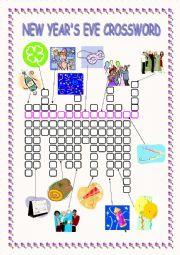 English Worksheet: New Year�s Eve Crossword