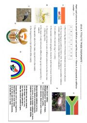 English Worksheet: SOUTH AFRICA + SYMBOLS