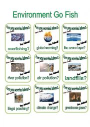 English Worksheet: Environment Go Fish