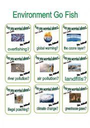 English Worksheet: Environment Go Fish